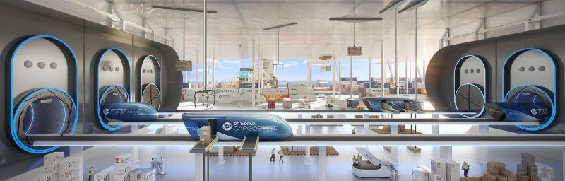 Mit dem Hyperloop werden Waren und Menschen mit Hochgeschwindigkeit bewegt. Die Technologie hat das Potenzial, den Transport künftig zu revolutionieren (Bild: Cargospeed/DP World).