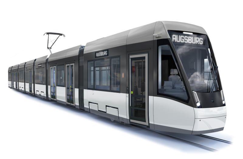 Elf Straßenbahnen des Typs Tramlink sollen ab 2022 in Augsburg auf den Linien des zweitgrößten Straßenbahnsystems Bayerns zum Einsatz kommen (Visualisierung: Stadler Rail).