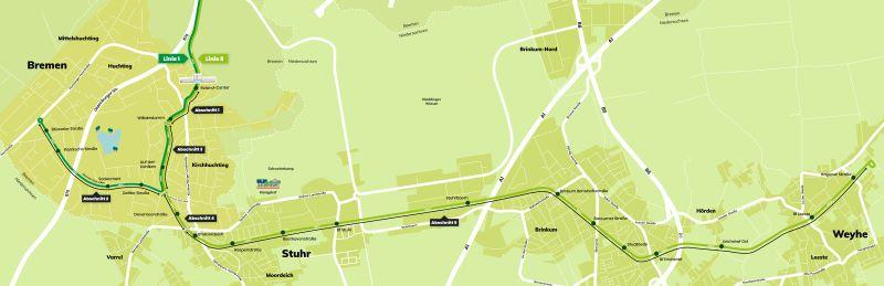 Die Ausbaupläne für die Verlängerung der Bremer Straßenbahnlinien 1 und 8 ab Rolandcenter: gemeinsam werden die Abschnitte 1 und 3 befahren, die Weiterführung der 1 beinhaltet den Abschnitt 2, die Strecke der 8 nach Niedersachsen die Abschnitte 4 und 5 (Quelle: Bremer Straßenbahn).