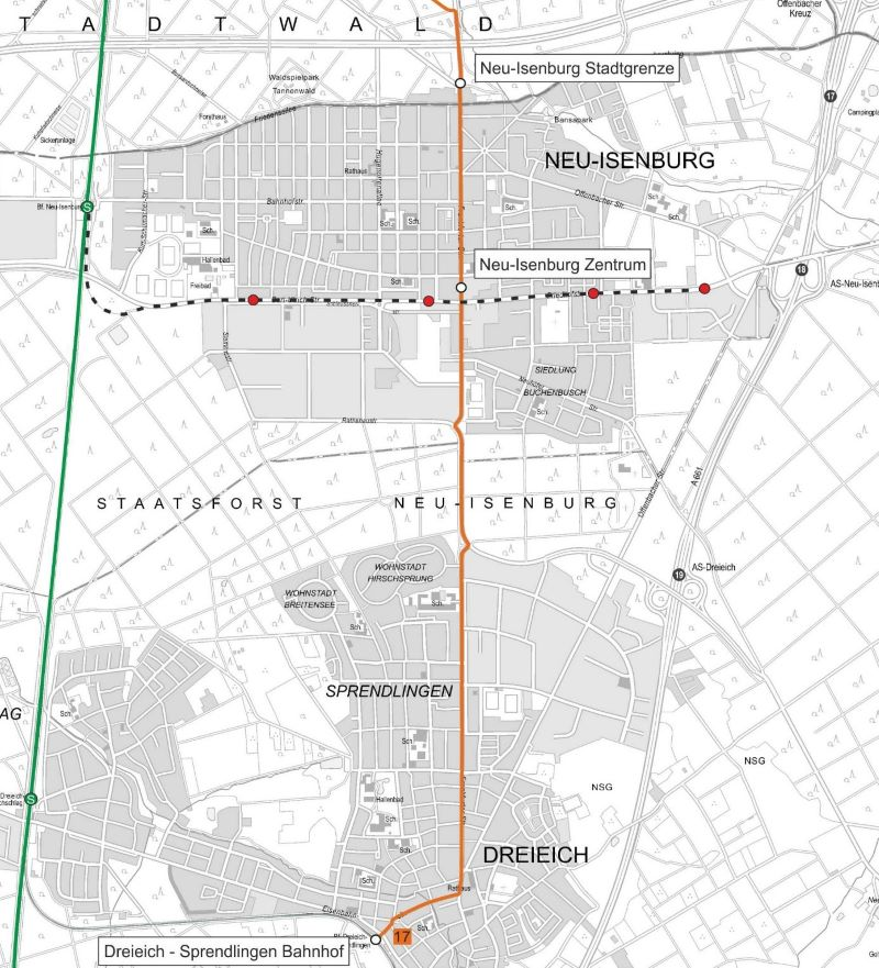 An der Endstelle Neu-Isenburg Stadtgrenze soll eine 5,5 km lange Neubaustrecke ansetzen, die durch das Zentrum von Neu-Isenburg bis zum Bahnhof Dreieich-Sprendlingen führen soll (Quelle: Traffiq Frankfurt).