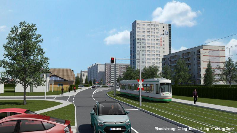 So soll die Trasse im 5. Bauabschnitt der 2. Magdeburger Nord-Süd-Strecke realisiert werden. 2024 soll die Strecke in Betrieb gehen ( Visualisierung: MVB / Dipl.-Ing. H. Vössing GmbH).