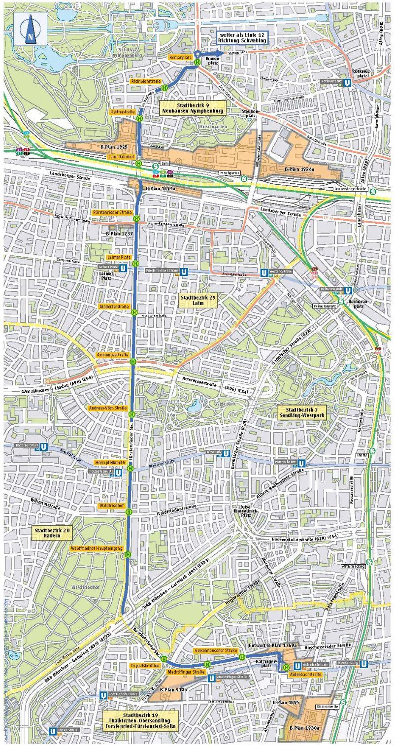 Rund 9 km lang ist die Tram-Westtangente in München. Sie verbindet den Romanplatz im Norden mit der Aidenbachstraße im Süden (Quelle: Münchner Verkehrsgesellschaft).